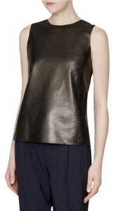 Vince Sleeveless Leather Tank Top Black