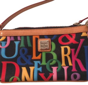 Dooney & Bourke Wristlet in Black With Multi Color Letters