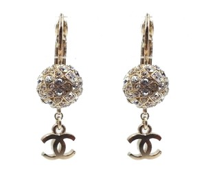 Chanel Chanel Gold Crystal ball CC Lever Back Piercing Earrings