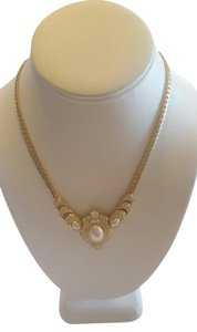 Dior Vintage Christian Dior Chocker Pearl Necklace Pave Rhinestones