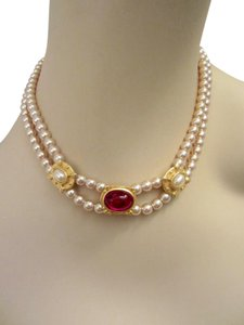 Other Faux Pearl & Red Cabochon Necklace Museum Reproduction Quality