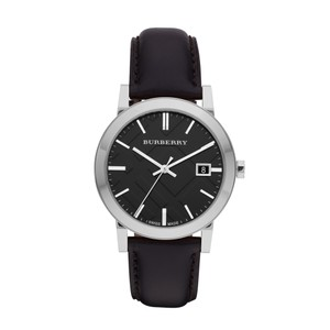 Burberry Burberry Women's The City Black Leather Silver Steel Watch BU9009