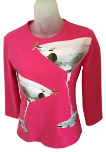 Tufi Duek Martini Glass Stretchy 3/4 Sleeve Top PINK