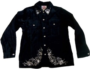 Other Rhinestones Velvet Size Xs Black Jacket