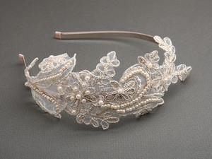 Champagne Vintage Lace Headband with Pearls Sequins Tiara