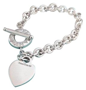 Tiffany & Co. Tiffany And Company Sterling Silver 7 Inch Heart And Toggle Charm Bracelet . Makes A Great Gift . Comes With A Complementary Tiffany Blue Color Polishing Cloth!!!