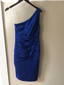 David's Bridal Horizon (Royal Blue) One Shoulder Stretch Satin Short Dress Dress