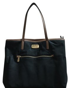 MICHAEL Michael Kors Tote in Black With Brown Leather Trim