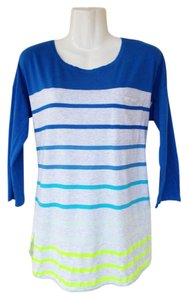 Gap Baseball Tee Pocket Gradient Striped Quarter Sleeves T Shirt blue, grey
