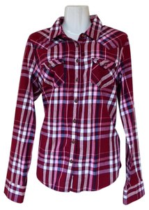Aropostale Button Down Cotton Plaid Button Down Shirt red, white, pink