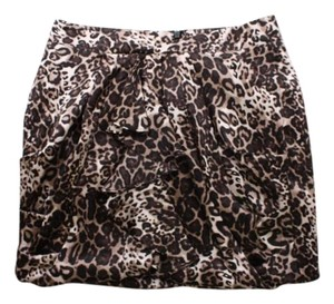 bebe Leopard Print Silk Skirt Brown