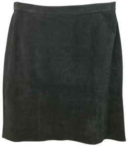 WINLIT Black Suede Pencil Skirt