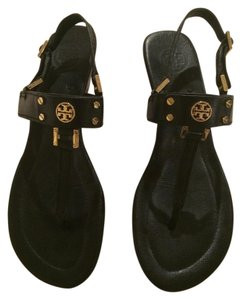 Tory Burch Wedge Gold Leather black Sandals