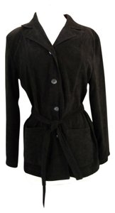 Briggs Top Stitching Machine Washable 4 Button Closure Self Fabric Belt Black Blazer