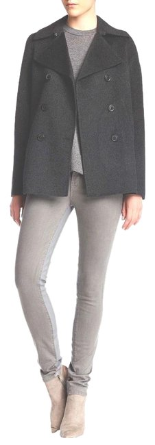 Item - Gray L Charcoal Wool Blend Doublebreasted Women Peacoat Size:l Jacket Size 12 (L)