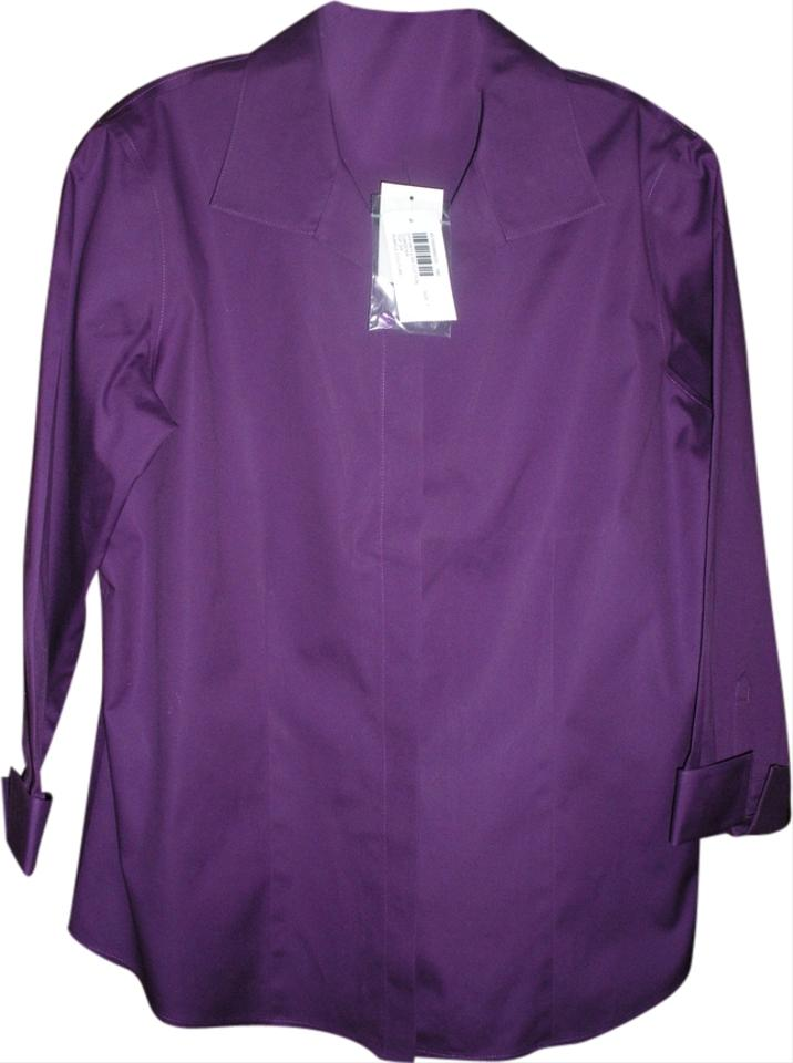 Chico 39 s purple effortless cotton no iron shirt button down for Best no iron shirts