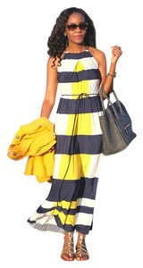 Yellow Blue Maxi Dress by Maggy London Striped Full Length Fall Sleeveless Nwt