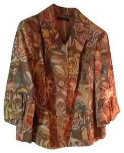 Lafayette 148 New York Colorful Vintage Style Colors: tan, orange, green ,coral. Jacket
