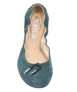 Tod's New Green Suede Emerald Flats