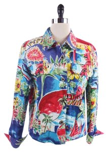 Boston Proper Boston Blue Floral Vacation Print Blue, MULTI Jacket