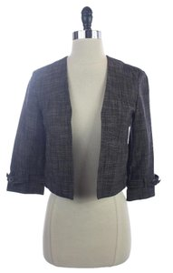 Calvin Klein Cotton Blend Collarless GRAY / BLUE Blazer