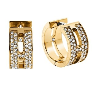Michael Kors Michael Kors MKJ4446710 Gold tone Huggies Hoop Logo Crystals Earrings