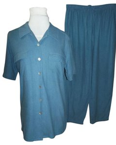 Erin London Blouse Pants Small Button Down Shirt Blue