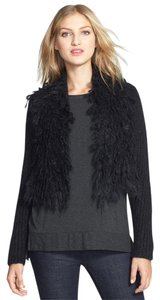 Eileen Fisher Fuzzy Mohair Knit Black Jacket