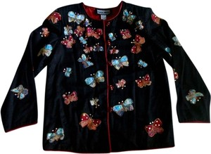 Indigo Moon Butterflies Beaded Size Xs Black, Multicolored Jacket
