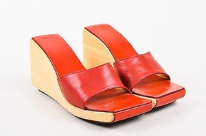 Hermès Hermes Tan Leather Wooden Red Sandals