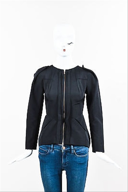 lovely Rm By Roland Mouret Black Cotton Exposed Seam Fitted Zip Up Jacket #19608076 - Jackets