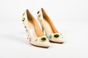 Charlotte Olympia Natural Linen Bejeweled Etta Multi-Color Pumps