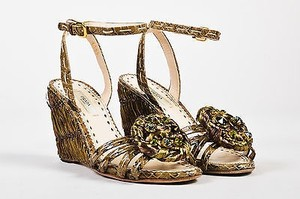 Prada Snakeskin Raffia Crystal Embellished Wedge 5b Green Sandals