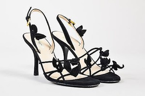 Prada Suede Strappy Bow Black Sandals