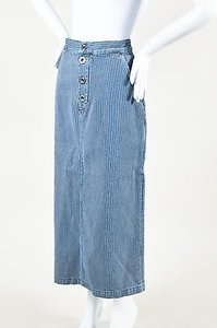 MiH Jeans White Denim Striped Skirt Blue