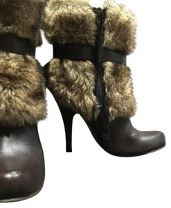 Forever 21 Bootie Faux Fur Chocolate Brown Boots