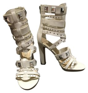 Fergalicious by Fergie High Heel Silver Studded Gladiator Zipper White Sandals