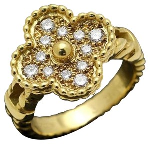 Van Cleef & Arpels Van Cleef Arpels VCA Alhambra 18k Yellow Gold Diamond Ring.