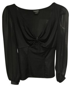 bebe Black Deep V-neck Top