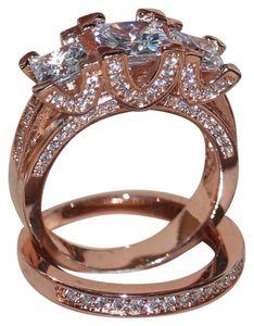 Other New Rose Gold 6CT Gold Filled Wedding Ring Set