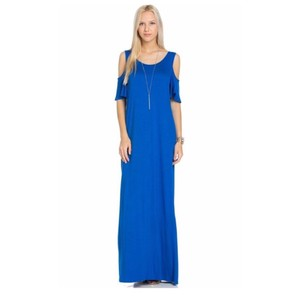 Cold shoulder maxi short dress Royal blue on Tradesy