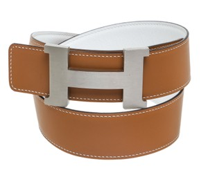 Hermès Hermes Gold and White Leather Constance H Belt (Size 80)