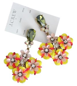 J.Crew NWT Floral & Crystal Drop Statement Earrings
