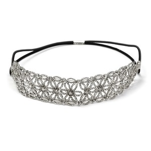 Tatiana Antique Pave Inlaid Crystal Floral Stretch Wedding Bridal Headband