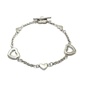 Tiffany & Co. Tiffany & Co Open and Solid Heart Toggle Bracelet