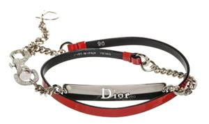 Dior Christian Dior Red Patent Leather Silver Chain Belt (Size 38)