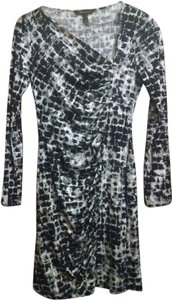 BCBGMAXAZRIA Asymmetrical Ruching Long Sleeve Mini Dress