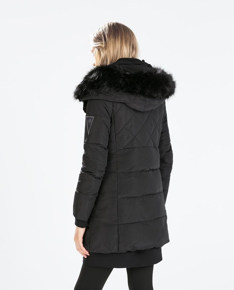 62385723 Zara Black Quilted Anorak Fur Hood Puffer Mid Length Long Jacket New M Coat  Size 8 (M)