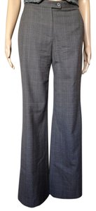 Carolina Herrera Wide Leg Wool Plaid Dressy Trouser Pants gray
