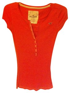 Hollister Junior's Medium Button Down Shirt Pink/Orange